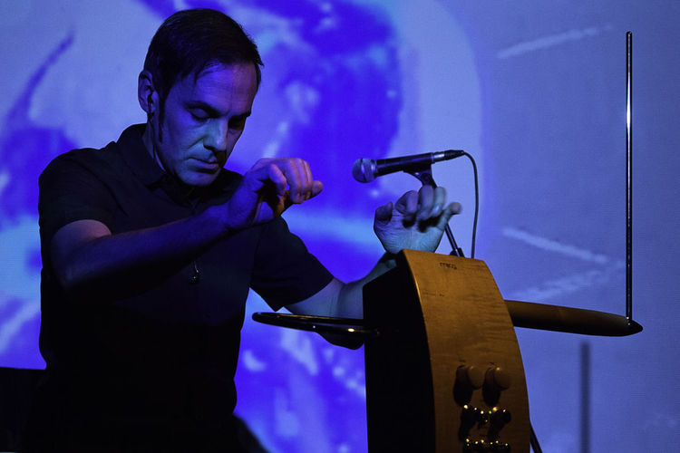 Javier Diez Ena Live Music Night Life Ambient Concert Indoors  Musician One Person Real People Skill  Theremin Video Projection Virtuoso