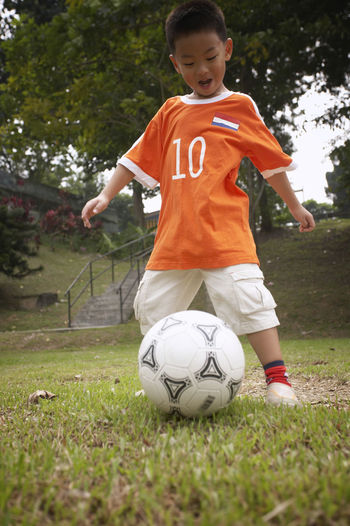 boy with soccer ball Field Football Fun Grass Happiness Active Activity Boy Cheerful Childhood Goal Grass Lifestyles One Person Outdoors Park - Man Made Space Playing Real People Soccer Soccer Ball Soccer Player Sport Sports Clothing Standing Tree