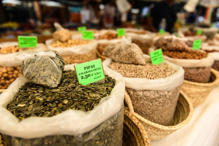 Seeds for sale on Alcudia market Baskets Cuisine Market Seed Seeds Choice Close-up Food Food And Drink For Sale Ingredient Market Market Stall Market Stalls No People Price Price Tag Retail  Retail Display Sack Selective Focus Selling Stall Text Variation