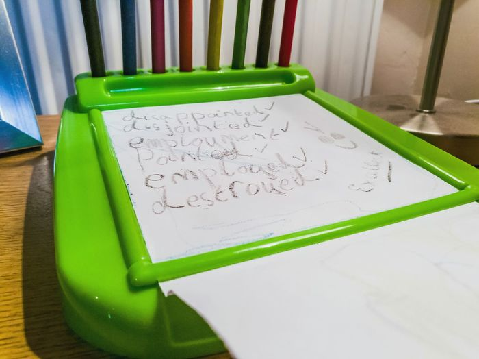 Children Handwriting  Child Learning Spelling Homework Learning To Spell Primary School Crayons Pencils Paper No People Desk Writing Words Marked Lieblingsteil