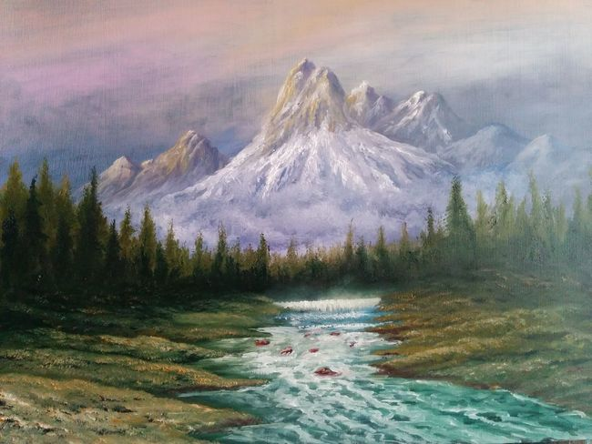 """This is a dedication to a very lovely friend whom I owe her my gratitude, a long time friend and a loyal follower ,thanks very much Marina Bortnikova for your support and for your friendship,oil on canvas 16""""_22"""", Nature Landscape_Collection Beauty In Nature Water Sky Tranquil Scene Flowing Stream Scenics My Art Colllection Creativity Fine Art Oil Painting Art, Drawing, Creativity Drawing My Best Friends ❤ Outdoors Friendship. ♡   Love ♥ Koi."""