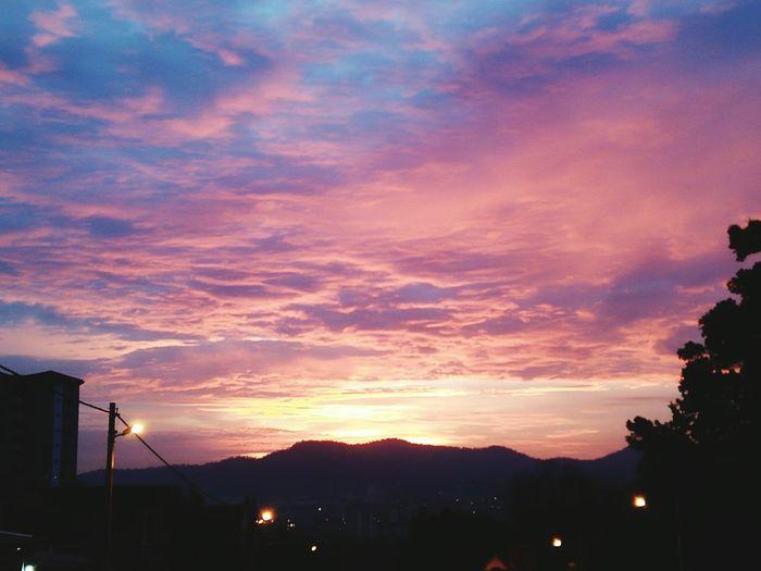 Sunset Outdoors Cloud - Sky Night Dusk No People Illuminated Sky Travel Destinations Mountain City