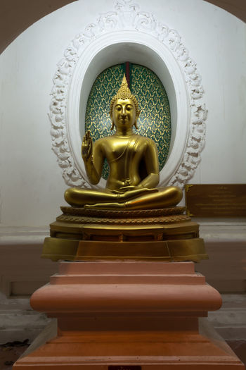 Day Gold Colored Human Representation Idol Indoors  Male Likeness No People Place Of Worship Religion Sculpture Spirituality Statue Thailand Nakhon Pathom Large Group Of People Travel Real People Old Buddha Old Buddha Statue Site Down Buddha Yellow Night Outdoors Gold Store
