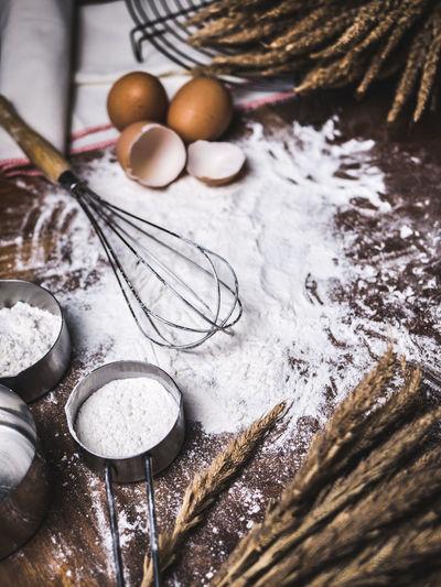 Flour on table