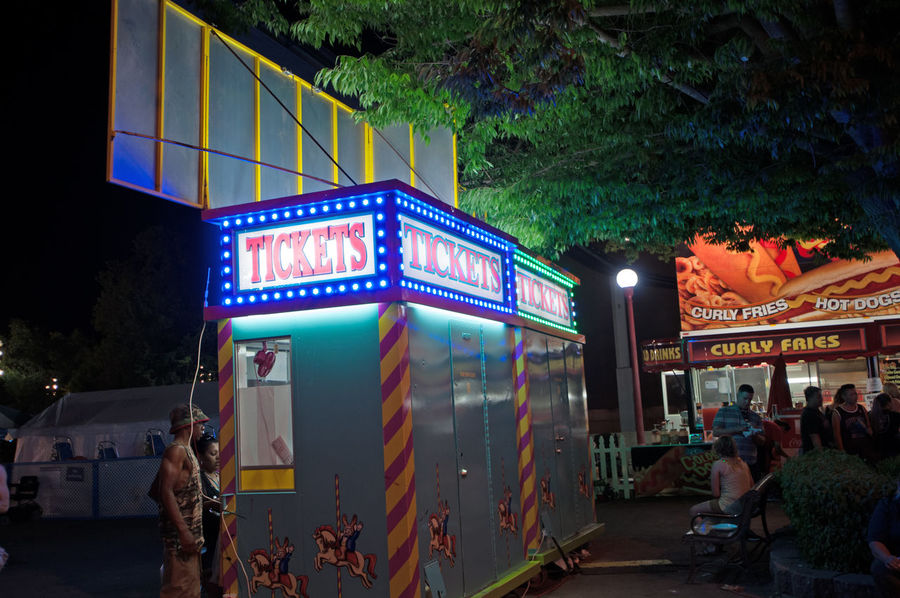 Night Shots_Ticket Booth @ State Fair Sacramento, Ca. Learn & Shoot : After Dark Neon Lights Night Photography