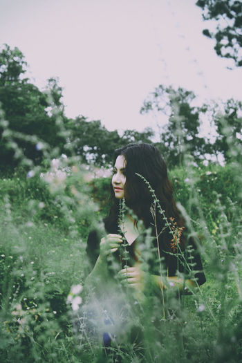 Girl in nature ASIA Colors Green Nature Pink Plant Canon Day Eye Flower Forest Leaf Model One Person Outdoors People Portrait Women Young Women