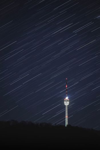 Star Trail Night Star - Space Tower Space Astronomy Built Structure Sky Architecture Building Tall - High Building Exterior Outdoors Star Field No People Communication Star Nature Scenics - Nature