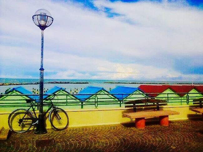 Pesaro Waterfront promenade Bike benches Colors