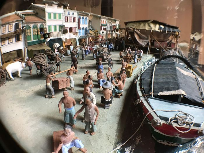 Miniature Shophouses along Singapore River Large Group Of People Transportation Real People Men High Angle View Mode Of Transport Day Architecture Outdoors Women Built Structure Building Exterior Nautical Vessel People singapore Shophouse