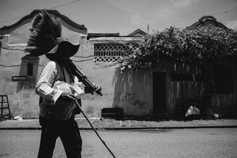 Hoi An Ancient Town B&w Black & White Black And White Photography Blackandwhite Blind Man DuyTuanPtg Monochrome Outdoors Peddle Peddler Photooftheday Street Life Street Photography Streetphoto_bw Vintage VSCO Vscocam
