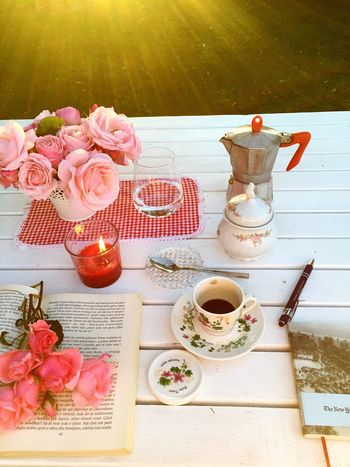Flower Table Food And Drink Flowering Plant Cup Drink Plant No People Nature Mug High Angle View Food Beauty In Nature Refreshment Candle Freshness Still Life Coffee Coffee - Drink Saucer