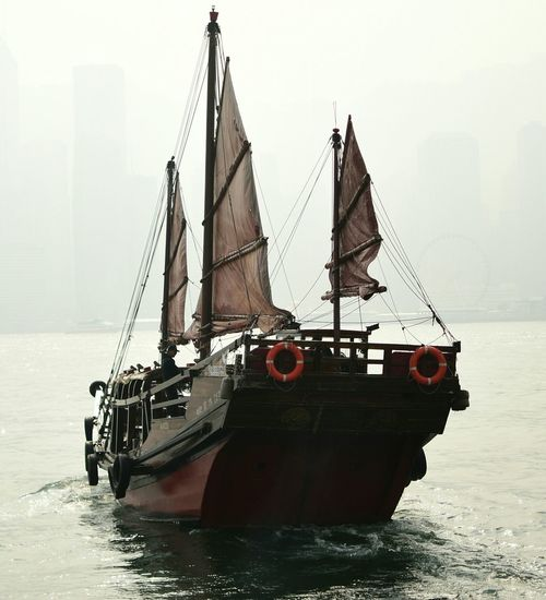 Hazy Day Nautical Vessel Sea Transportation Water Silhouette Tall Ship Ship Day Outdoors Sailing Ship Sailing