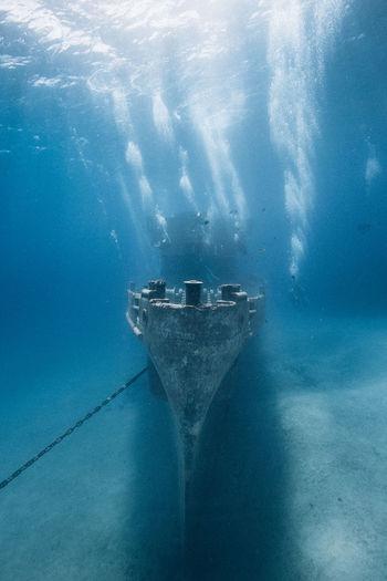 Shipwreck in sea