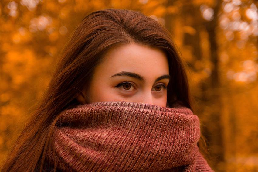 Autumn colors Beauty Women Smiling Human Face Hiding