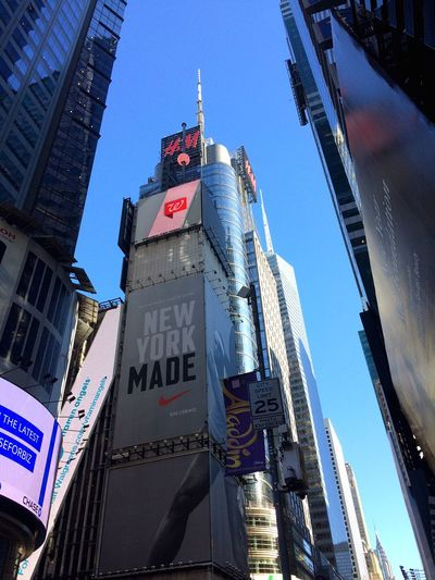 Building Exterior Architecture Built Structure Low Angle View Skyscraper Outdoors City Text Tower Clear Sky Sky Day Illuminated TimesSquare New York Lovefortravel Urbanphotography Urban Landscape Crowded GoodTimes Traveling Photography Bigapple Modern Cultures Adapted To The City