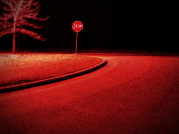 Light And Shadow Stop Sign Surrounded By Darkness Road To No Where Alone Showcase: February Walking Around