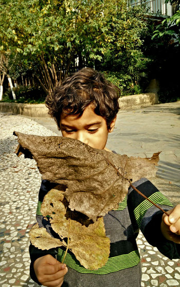 Boy Casual Clothing Child Day Focus On Foreground Leaf Leaft Leisure Activity Lifestyles Nature Outdoors Portrait