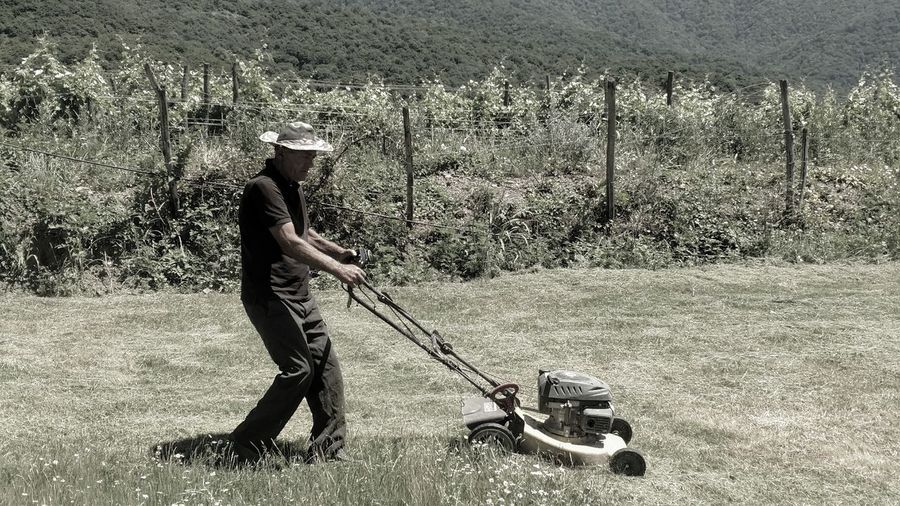 Full length of man mowing at lawn