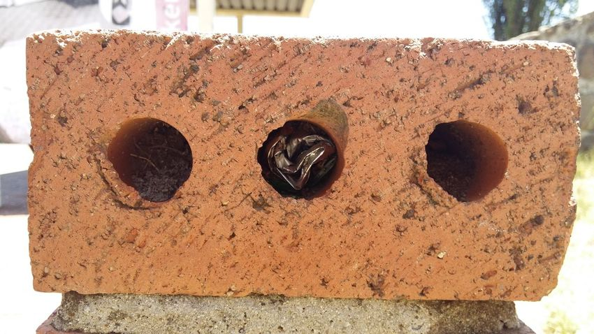 Street Photography Red Brick Middle Hole Holes In A Brick Stuffed Into The Middle Hole The Places I've Been Today The Things I've Seen  Deceptively Simple The Purist (no Edit, No Filter) Another Brick In The Wall