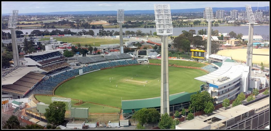 Aerial View Architecture Australia Building Exterior Built Structure City Cityscape Cricket Cricket Field Day Fish-eye Lens Grass High Angle View Match - Sport Outdoors People Perth Sport Stadium Travel Destinations Tree Waca Flying High