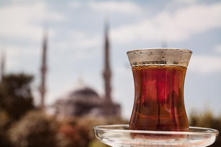 Close-Up Of Turkish Tea Against Sky