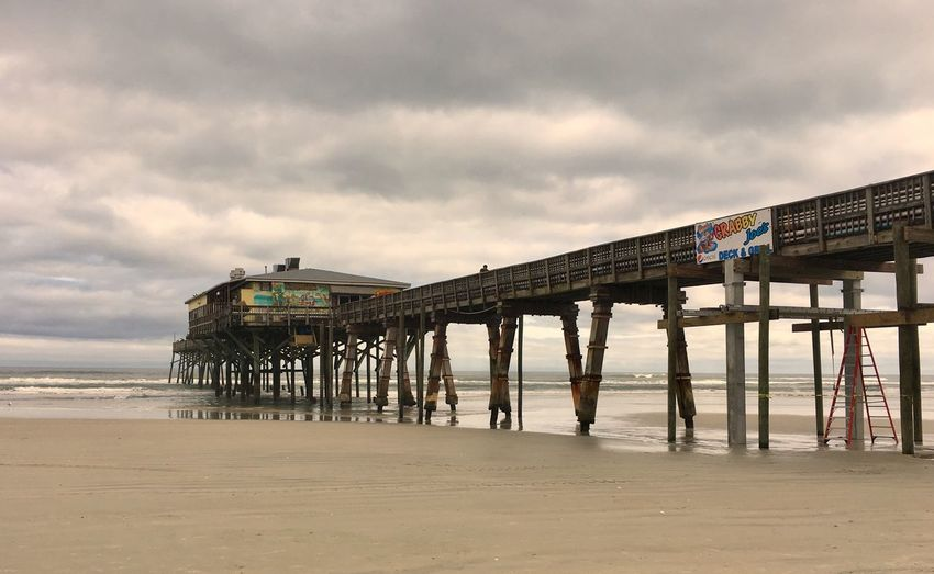 Pier Beach Sand Sky Sea Cloud - Sky Built Structure Architecture Horizon Over Water