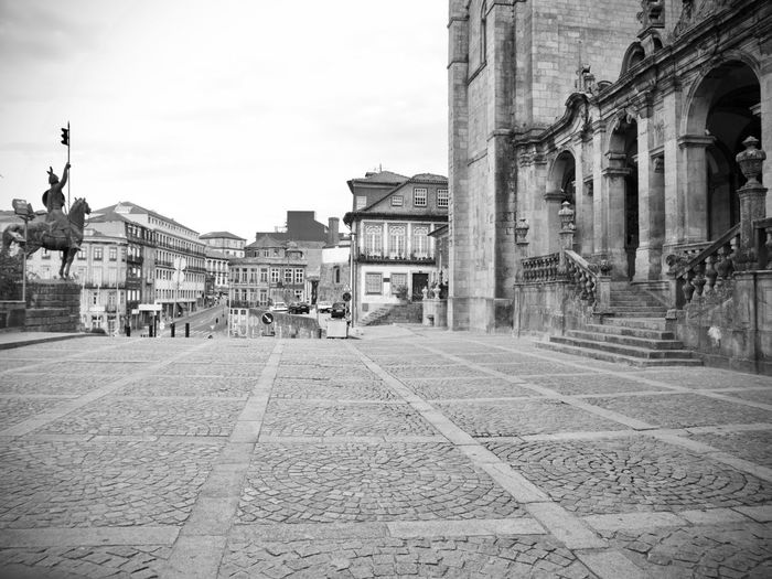 BeW City Cityscape Oporto, Portugal Architectural Column Architecture Belief Black And White Building Building Exterior Built Structure City Cobblestone Day History Incidental People Monochrome Outdoors Place Of Worship Religion Sky Spirituality Street The Past Tourism Travel Travel Destinations