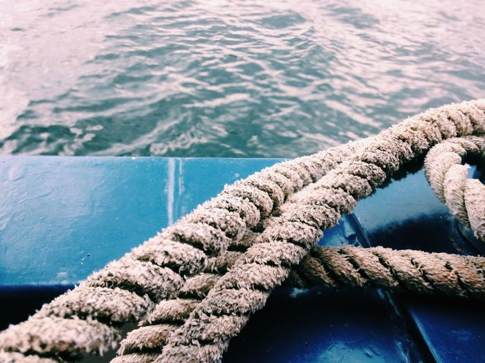 Close-up of rope in water