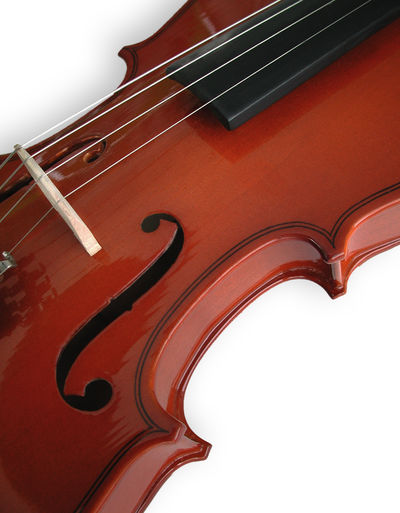 Art And Craft Arts Culture And Entertainment Brown Classical Music Classical Style Close-up Indoors  Low Angle View Music Musical Equipment Musical Instrument Musical Instrument String No People Red Still Life String String Instrument Studio Shot Violin White Background Wood - Material