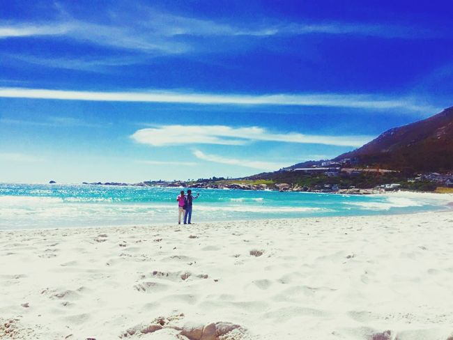 I'm sooo happy to be here!!! Beach Sea Water Rear View Blue Tranquil Scene Sand Leisure Activity Beauty In Nature Cape Town Hanging Out Relaxing Lifestyles