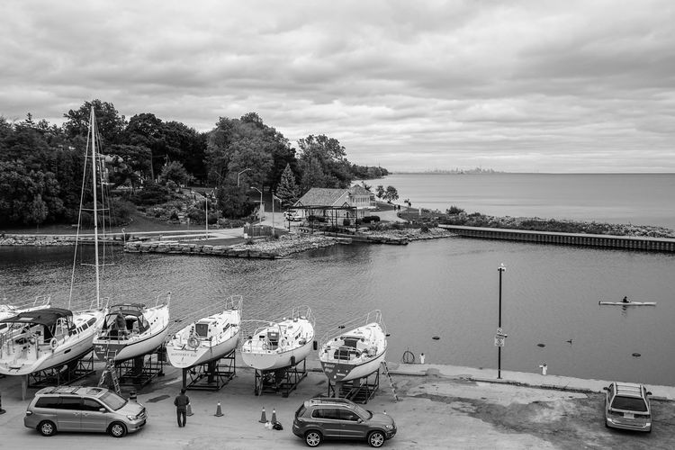 harbour view from tannery park Blackandwhite Monochrome Water Nautical Vessel Sea Beach Moored Pedal Boat Tree Sand Sky Outrigger Canoe Oar Life Jacket Paddling Boat Horizon Over Water Water Vehicle Sailing Boat Mast Harbor Recreational Boat