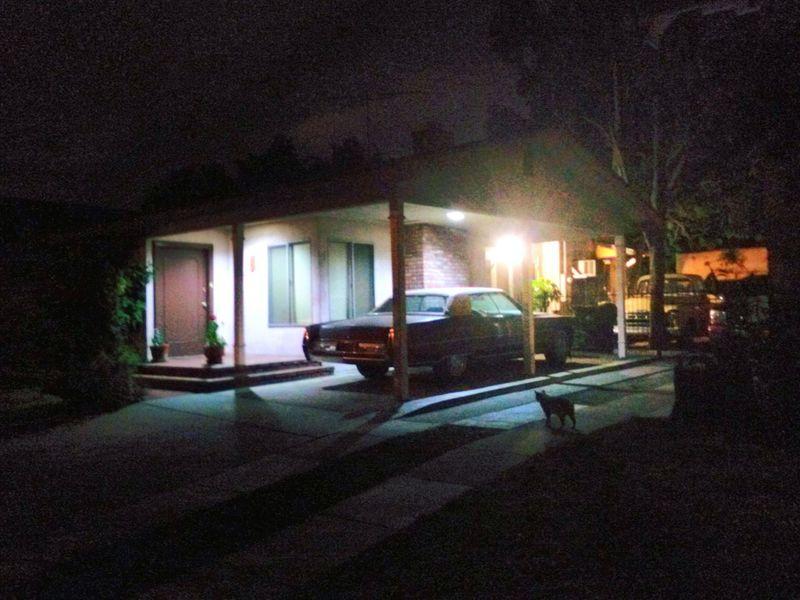 Night Photography Nighttime Nightwalk Neighborhood Kitty Vintage Car Porch Light Suburbia Nightscape Nightscape Goodnight