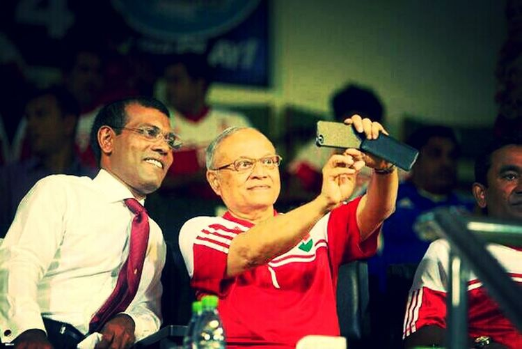 PPM PRESIDENT HE. MAUMOON selfie WITH MDP PRESIDENT HE. NASHEED AFCChallengeCup2014 The Illusionist - 2014 EyeEm Awards The Explorer - 2014 EyeEm Awards