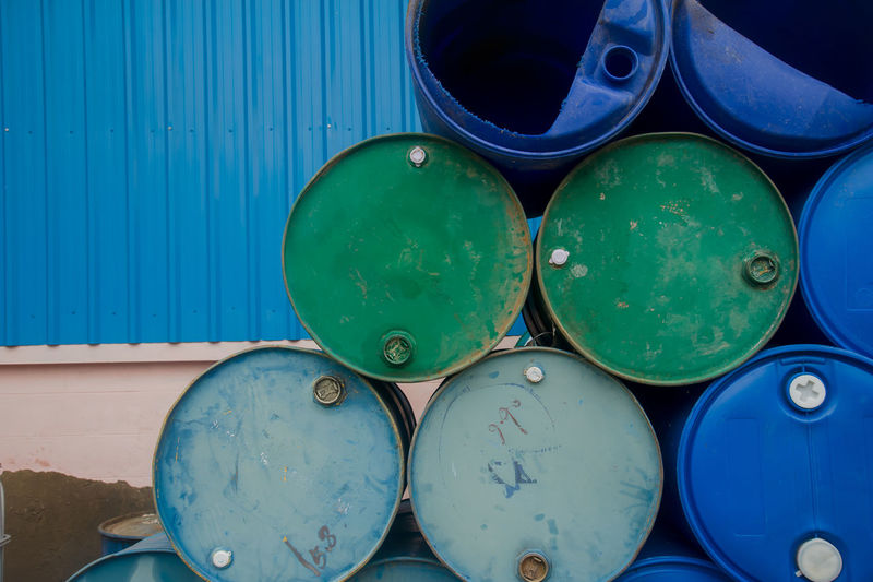 Chemical Plant, Plastic Storage Drums, Blue Barrels,Oil tank Blue Chemical Plant Chemical Plant Close-up Day Green Color Multi Colored Nautical Vessel No People Outdoors Water