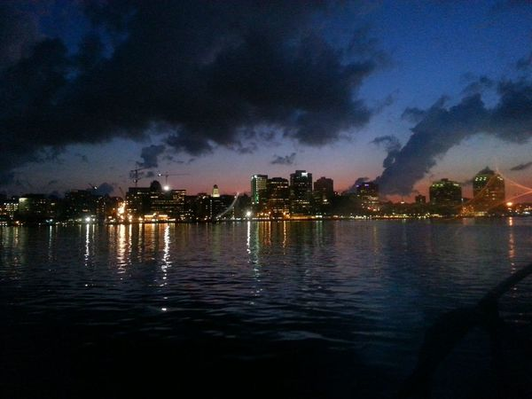 Enchanting city viewed from a tall ship in the harbour. Why oh why didn't I bring my camera instead of my phone?! Sky Porn SunsetHarbour Cruise City Skyline Skyporn Halifax Waterfront Taking Photos Beautiful