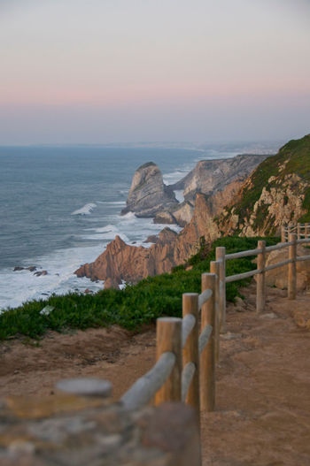 Beauty In Nature Cabo Da Roca Cliff Horizon Over Water Landscape Ocean Portugal Rock Formation Scenics Sea Shore Sunset Travel Destinations The Great Outdoors - 2016 EyeEm Awards
