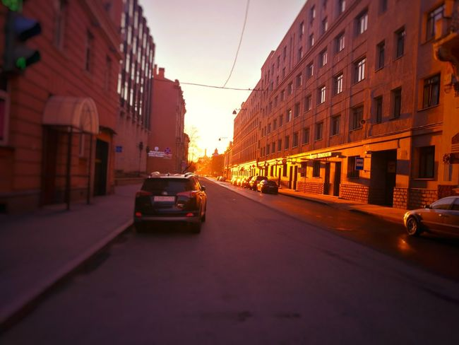 City Street Sunset City Street Architecture Building Exterior Car Travel Destinations Outdoors Cityscape No People Sky Day Sun