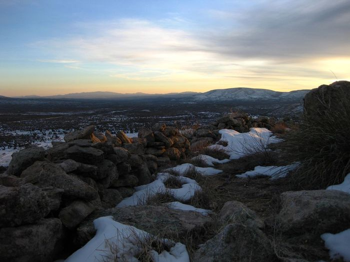 Winter sunset. A mountain top fortification overlooking Skull Valley, Yavapai County, Arizona. Ancient Ancient Ruins Arid Climate Beauty In Nature Cold Temperature Day Fort Fortification Landscape Mountain Nature No People Outdoors Rock - Object Scenics Sky Snow Stone Wall Sunset Tranquil Scene Tranquility Valley Winter Perspectives On Nature Shades Of Winter