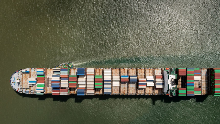 Aerial view container cargo ship import export business commercial trade logistic and transportation