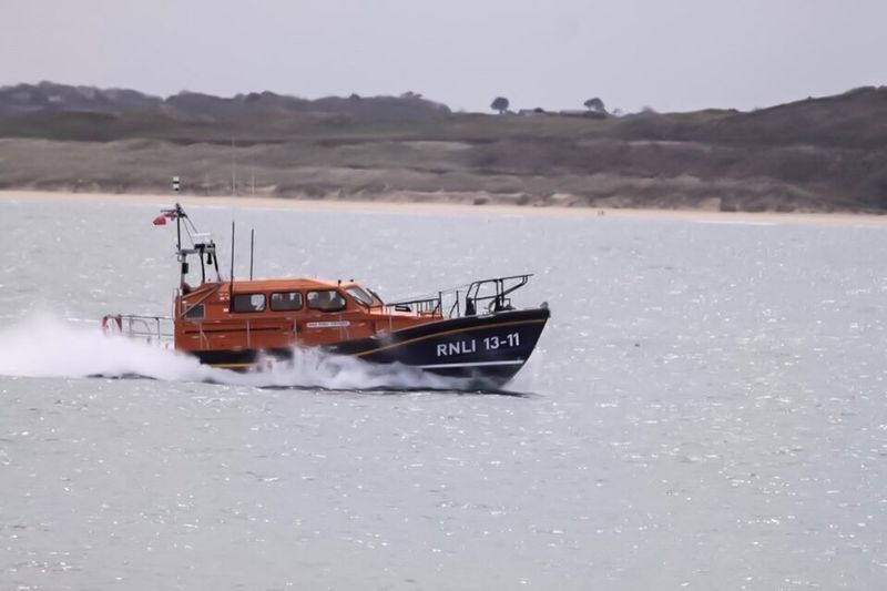 Lifeboat in action at beautiful St Ives.......... Lifeboat Sea And Sky Sea Landscape St Ives Harbour St Ives Canon EOS 500D Canonphotography Canon Outdoors Out And About ♥ Boat Photography