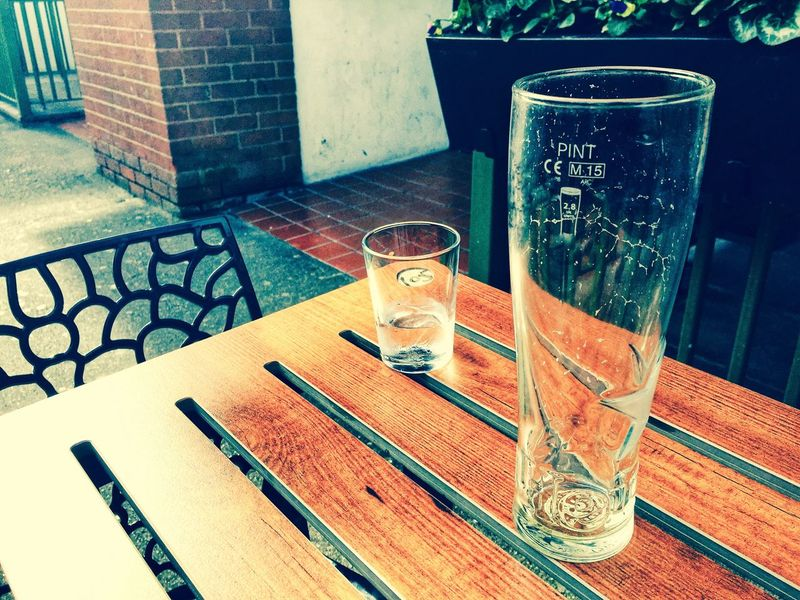 Empty glasses on a table in a pub beer garden. Refreshments Glasses Two Socializing Social Pub Pint Glass Beer Glass Table Table Glass Household Equipment No People Indoors  Drink Still Life Glass - Material Drinking Glass Refreshment Close-up Empty Day Food And Drink Container
