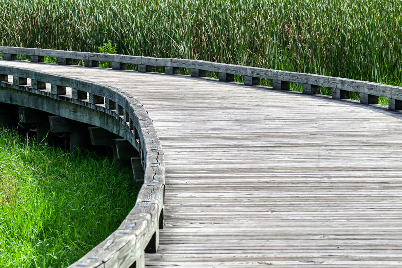 View of wooden footbridge
