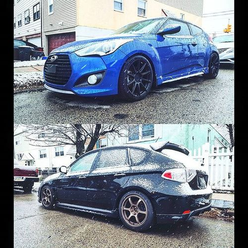 Hatch society seeing 1st taste of winter..... Hyundai Veloster Velosterturbo Kdm Boosted Turbo Dailydriven Hatch Hatchsociety Variantvelosters Kdmloyalty Kdmkings Veloster_addicts Velosterturborspec Subie Sooby Wrx Subaru Imprezawrx Impreza Scooby Scoobydoo Subieflow Subielove Scoobie
