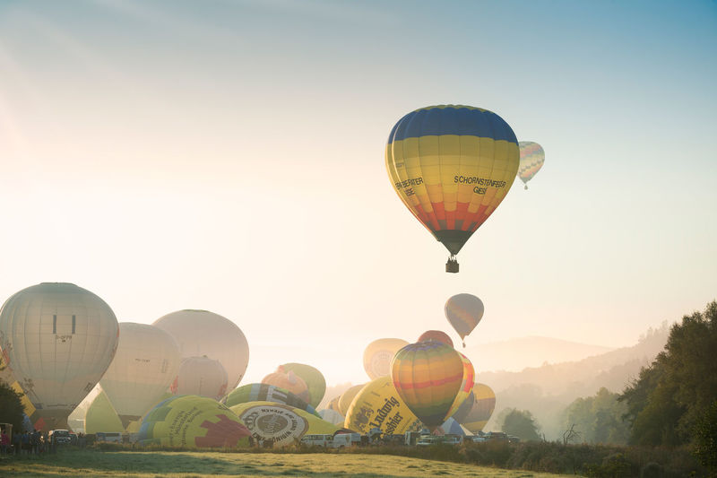 August31st2019start of hot air balloons in oeventrop arnsberg in the morning.warsteiner montgolfiade