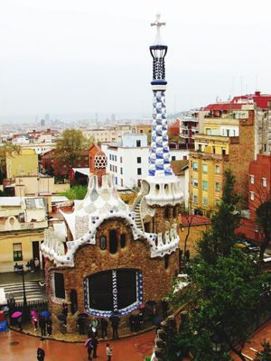 Architecture Gaudi Barcelona Rayning Day City Tranquility High Angle View Parc Guell Spain🇪🇸