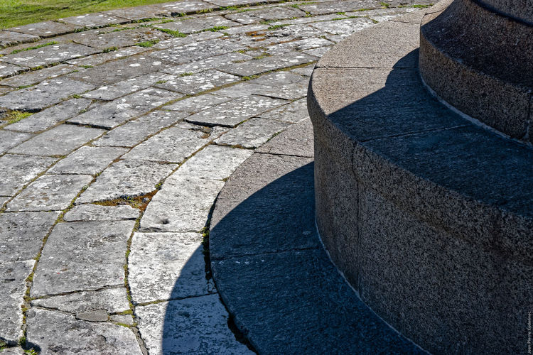 Cropped image of lighthouse by paving walkway