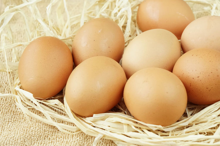 High angle view of eggs in basket