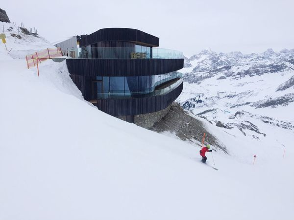 Mountain Nebelhorn Peak Restaurant Bar Architecture Modern Modern Architecture Snow Winter Skiing Winter Sport Allgäu