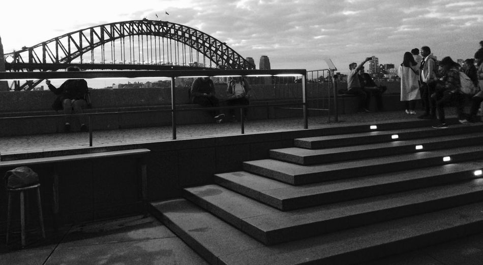 Just a sec Aussie Icons Black And White Sydney, Australia Architecture Built Structure Transportation Connection Bridge Group Of People The Great Outdoors - 2018 EyeEm Awards Bridge - Man Made Structure