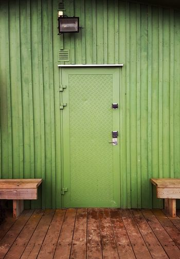 Wood - Material Door Green Color Built Structure Outdoors Day Wood Paneling No People Architecture Building Exterior Close-up Beach Beach House Green Color Personal Perspective Malmö, Sweden Minimalism Retrostyle Retro